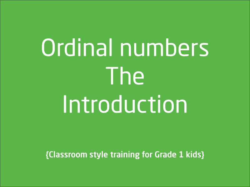 SubjectCoach | Ordinal numbers