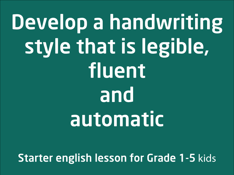 SubjectCoach | Legible, fluent and automatic handwriting