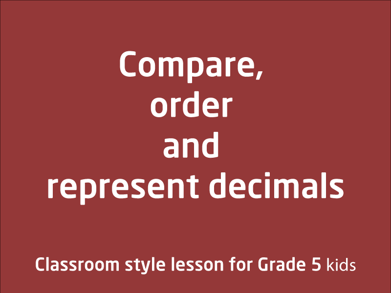 SubjectCoach | Compare, order and represent decimals