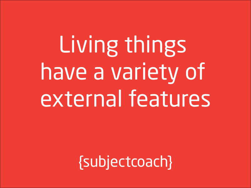 SubjectCoach | Living things have a variety of external features