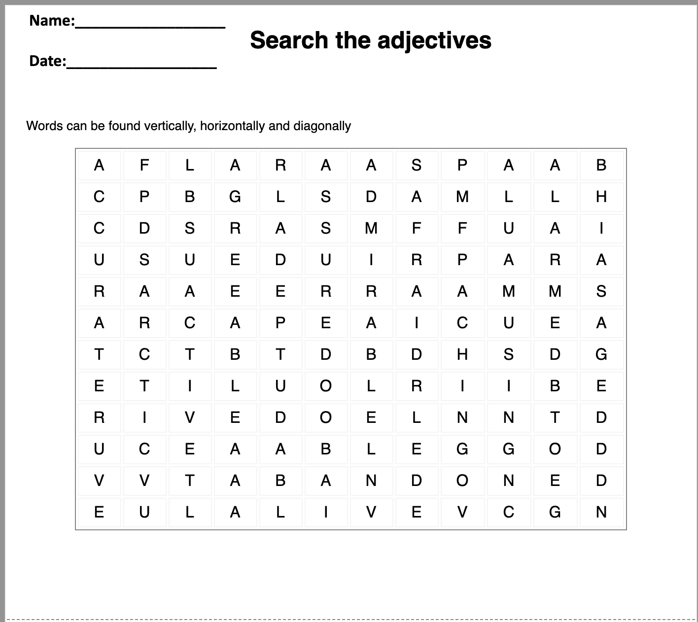 word search worksheet generator