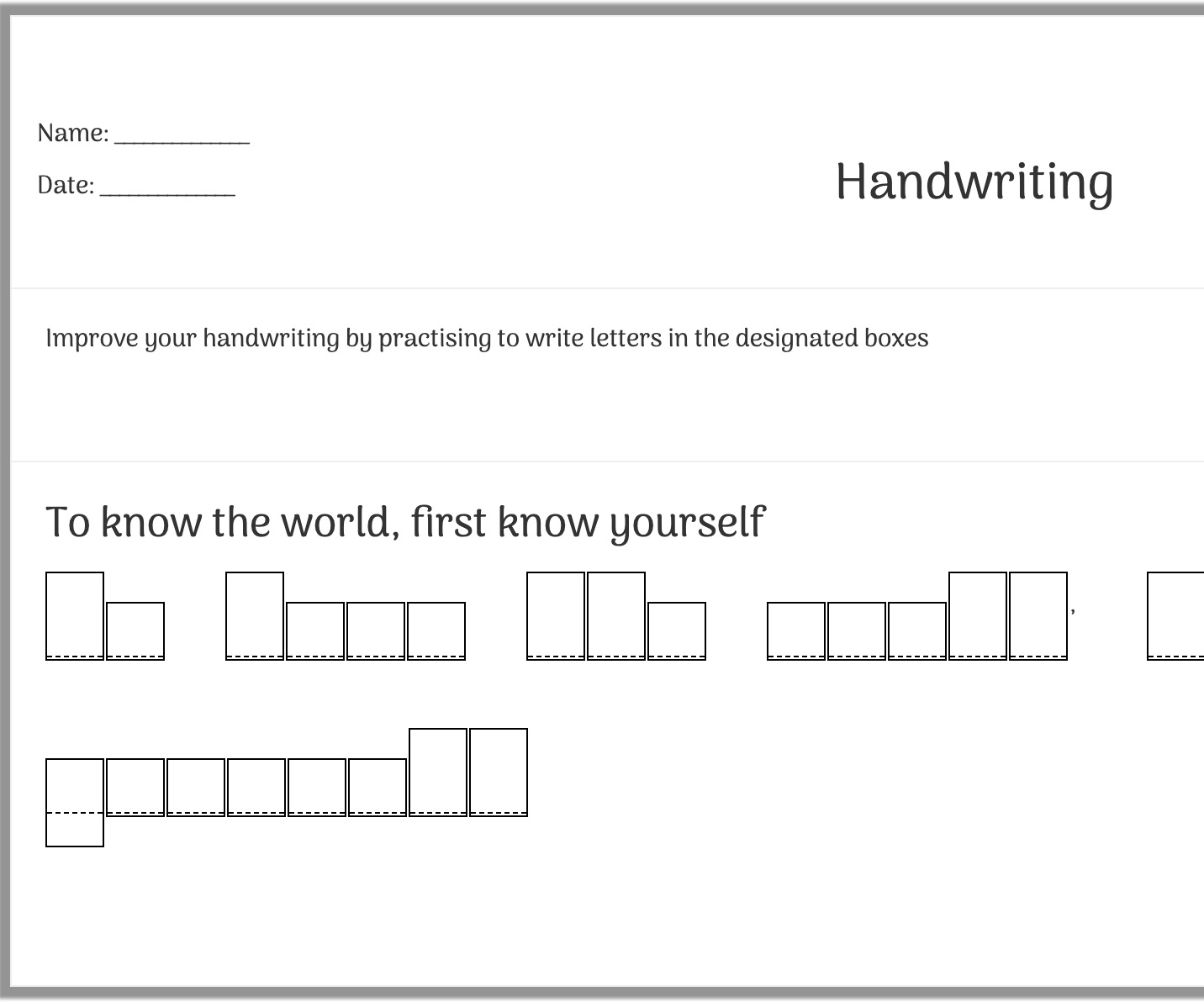 handwriting helper worksheet generator (sentence based)